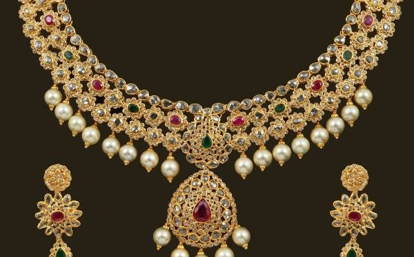 studded indian jewelorigins jhumkas necklace diamond carat set with designer matching diamonds rubies emeralds beautiful and gold com teamed uncut