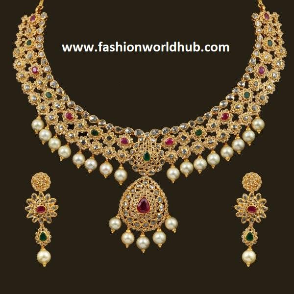 Floral uncut diamond Necklace Fashionworldhub