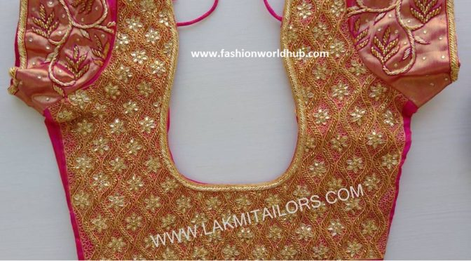 Grand Kundan work embroidery work blouse