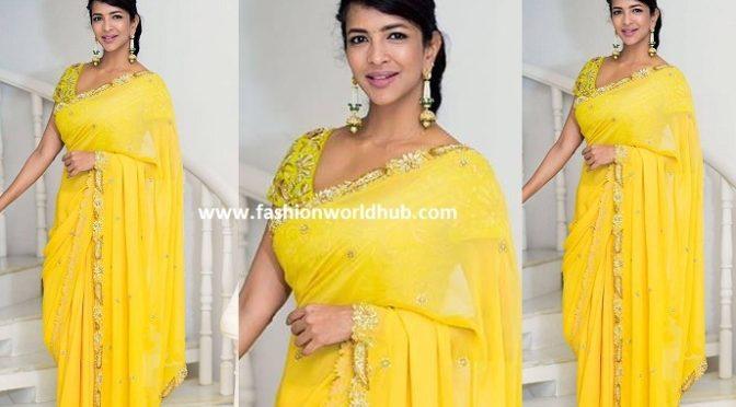 Lakshmi manchu in Yellow embroidered saree