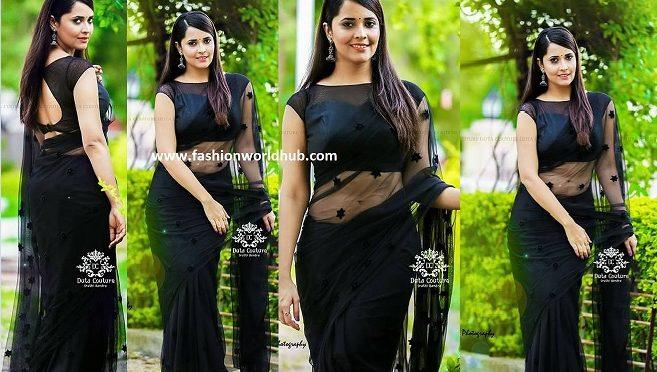 Anchor Anasuya in Black saree