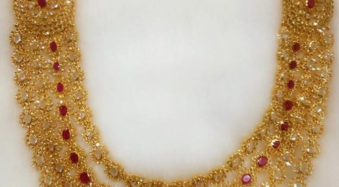 jewels south design puchala heavy jewellers pearls gold peacock necklace india
