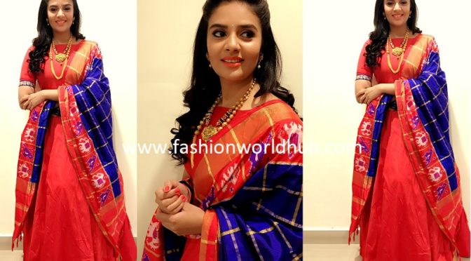 Sreemukhi in Floor length Anarkali