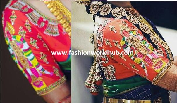 Goddess Embroidery blouse design
