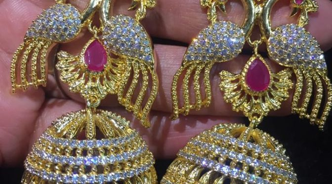 One gram gold peacock ear rings