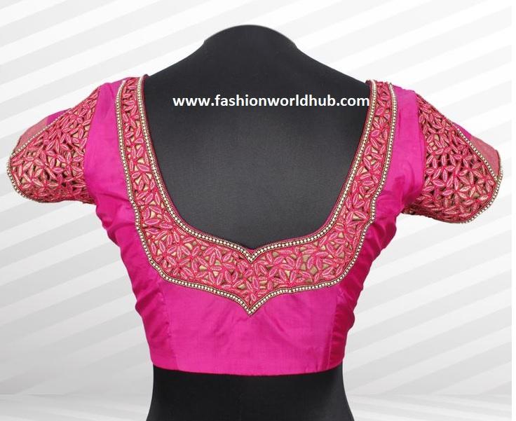 Simple Blouse Designs With Work:  Fashionworldhubrh:fashionworldhub.com,Design