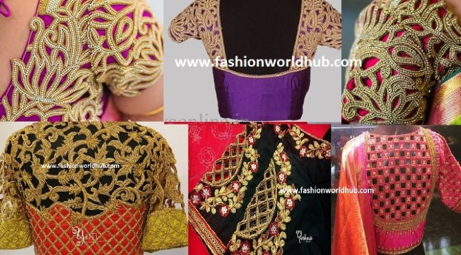 Cut work embroidery blouse designs