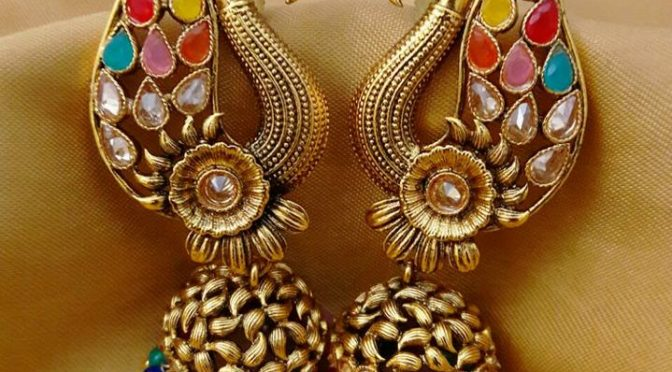 One gram gold kundan peacock ear rings