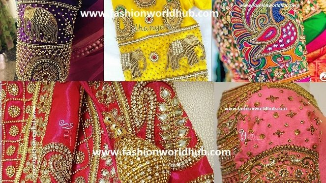 Embellished Blouse Sleeve Designs for Silk Sarees
