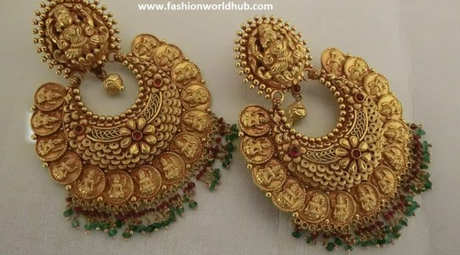 Unique Lakshmi kasu Chandbali ear rings