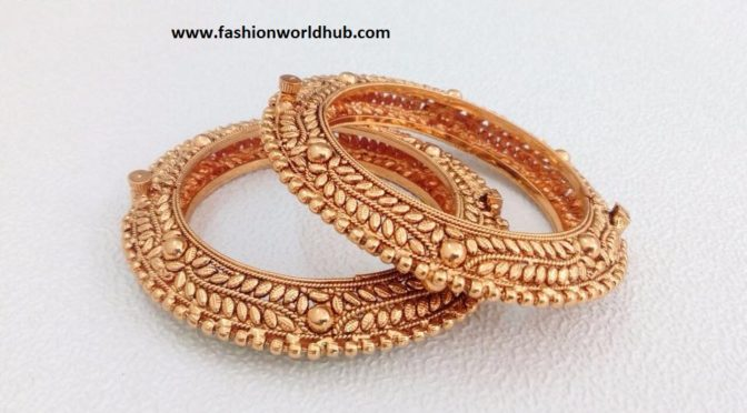 One gram gold bangle designs by Akshyani Collections India