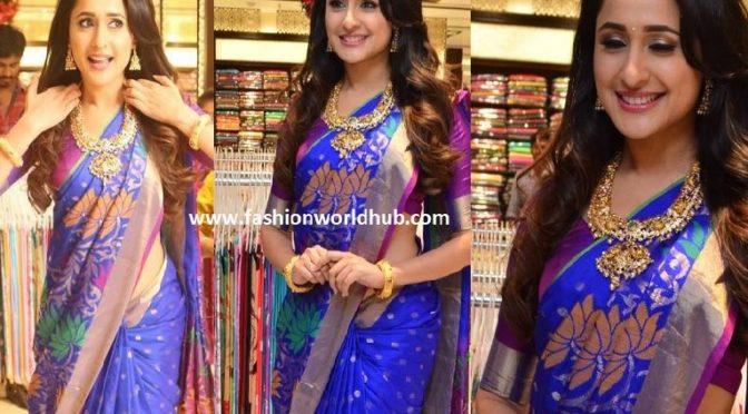 Pragya Jaiswal in Blue Kanjeevaram Saree