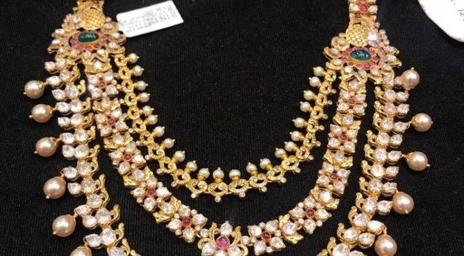 Three step Mossainite stone necklace