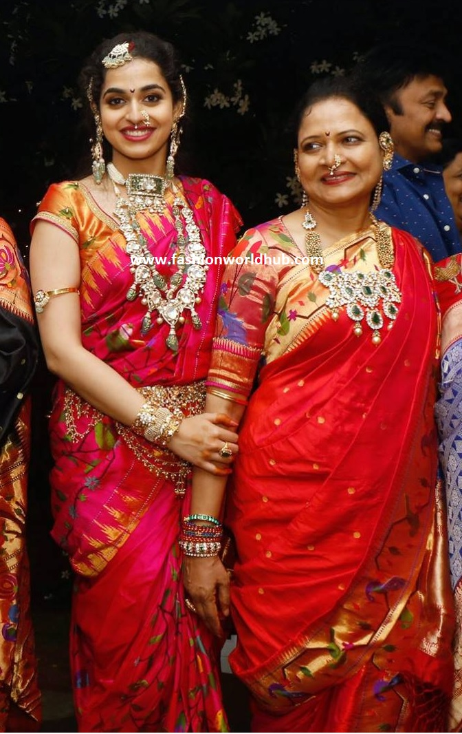 vasundhara in red paithani saree fashionworldhub