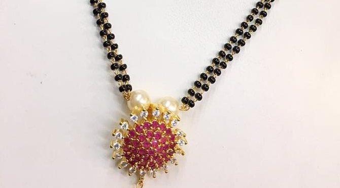 Designer one gram gold black bead chains