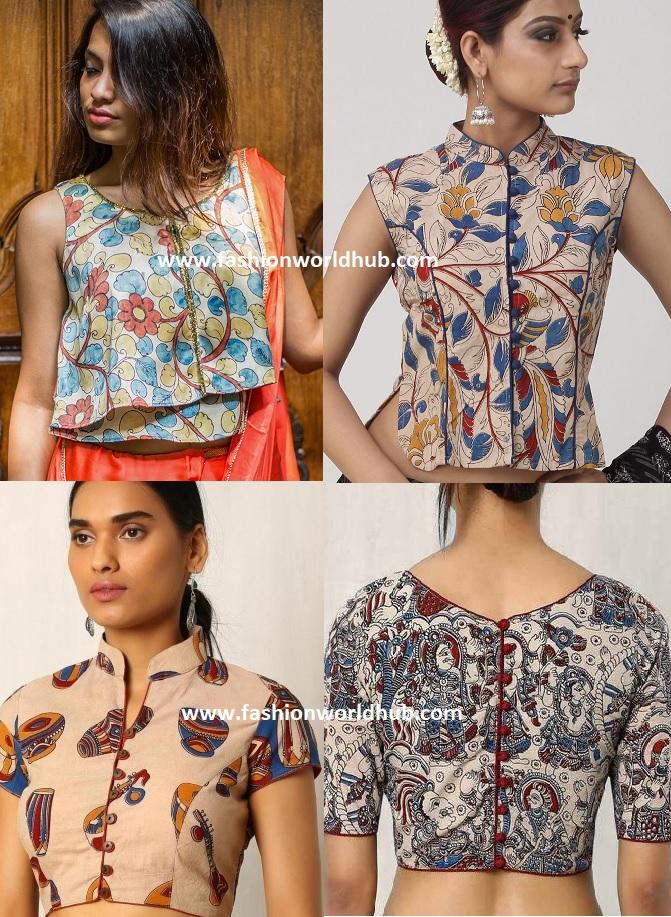 e1b7e2874acf7 To win the plain saree and Kalamkari pattern blouse you just accessorize  the right eye rings and chain . For the plain saree and kalamakri print  options ...