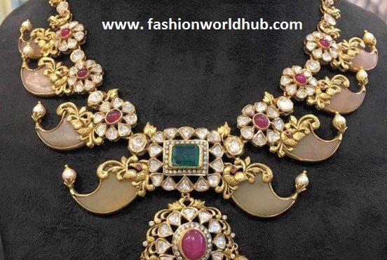 Puligoru Antique peacock necklace