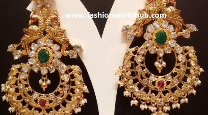 uncut diamond peacock chandbali ear rings fashionworldhub