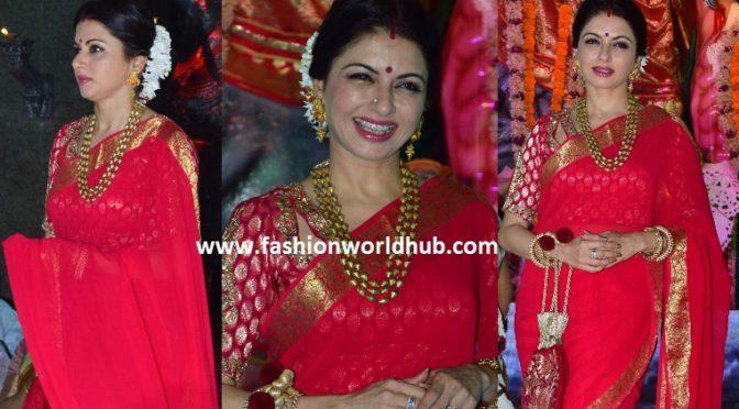 Bhagyashree in Red saree