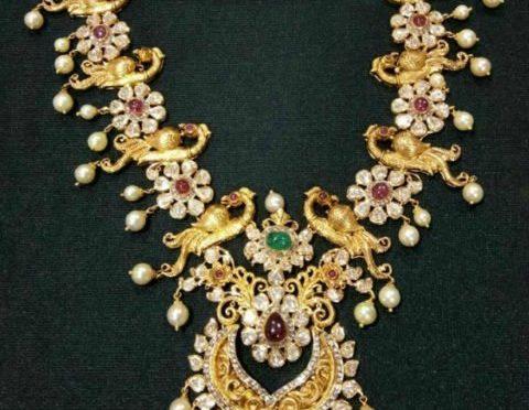 Antique Gold Flat Diamond Peacock Haram