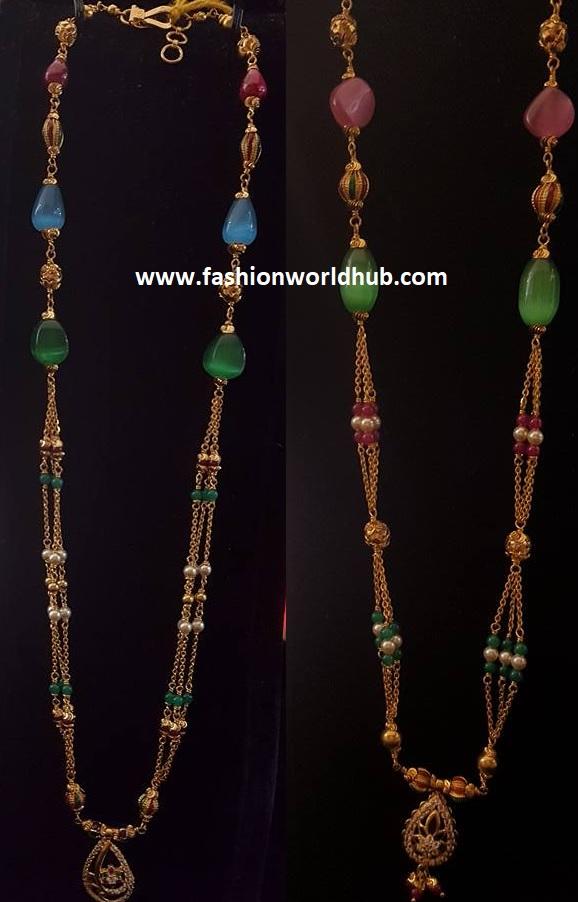 Black bead & Multi colour bead simple gold chains | Fashionworldhub