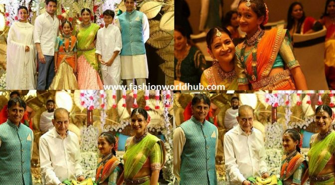Mahesh babu Sister Manjula's Daughter Jahnavi Half Saree Function Photos