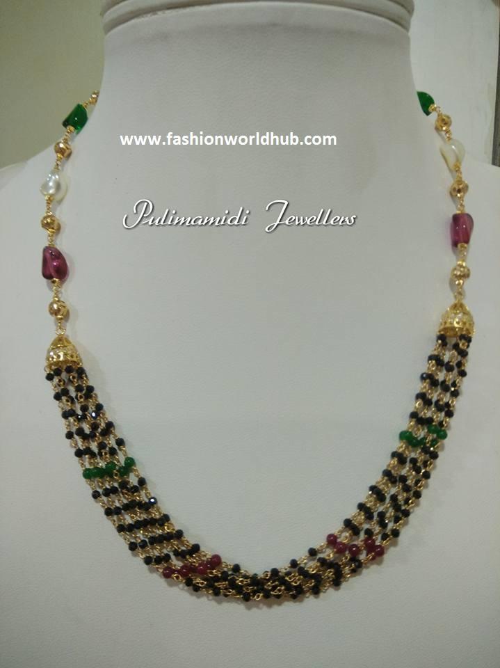 4c13ca6069376 Matte finish Black beads short and long chain   Fashionworldhub