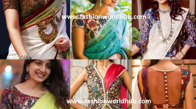 Must try Plain saree with kalamkari blouse
