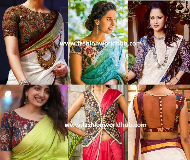 551539c55b48b3 The combination of plain saree and a superb kalamkari blouse is an  essential and must have in every women wardrobe.