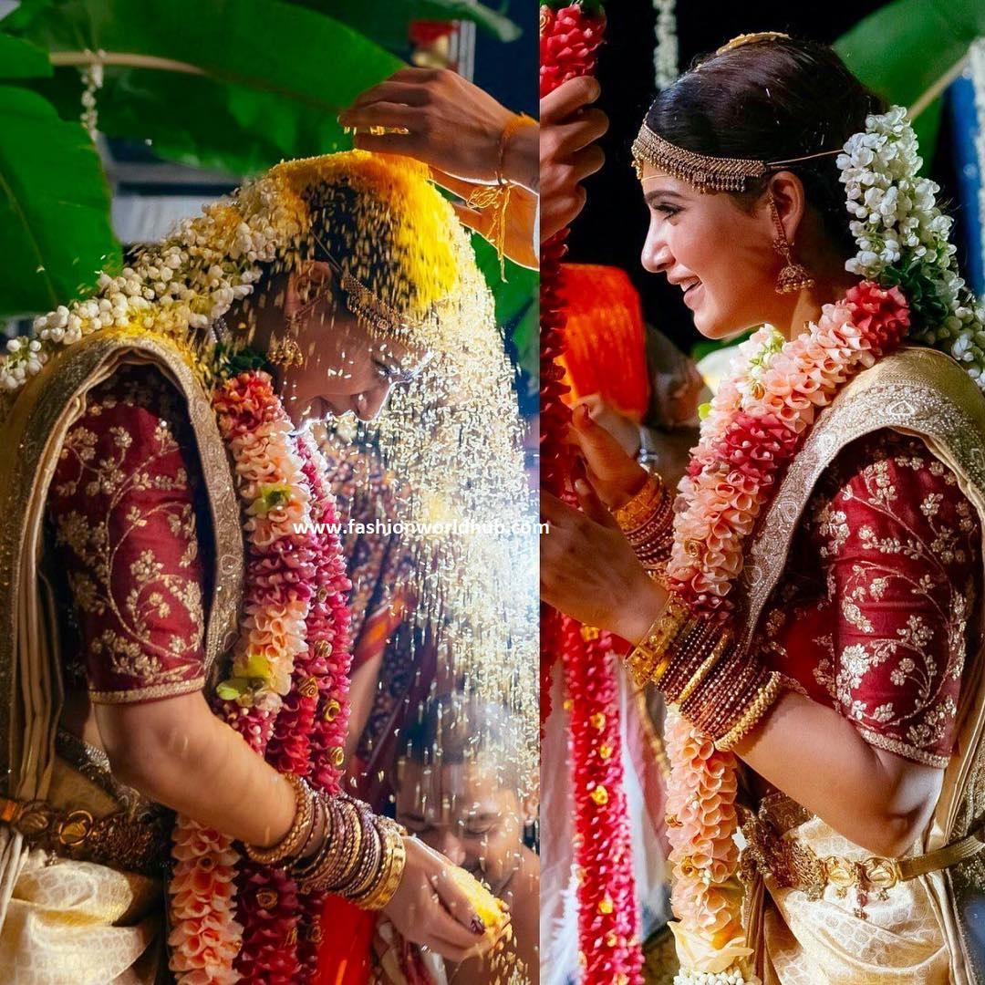 dbbb92554b Samantha in Sabyasachi Bridal Silk Saree & Jewelry by NAC Jewellers