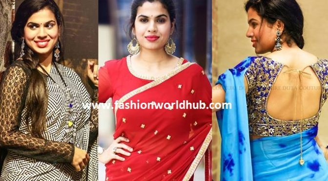 Inspiring saree style by Sravana bhargavi