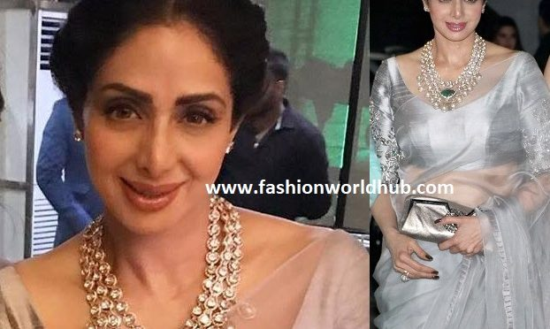 Sridevi kapoor in Polki diamond necklace