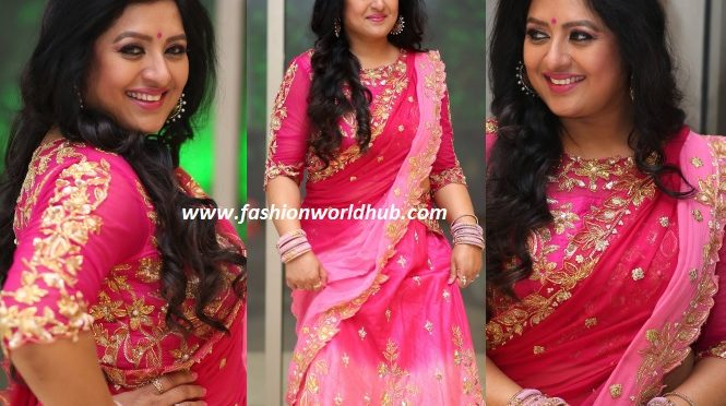 Sana in a pink Embroidery lehenga