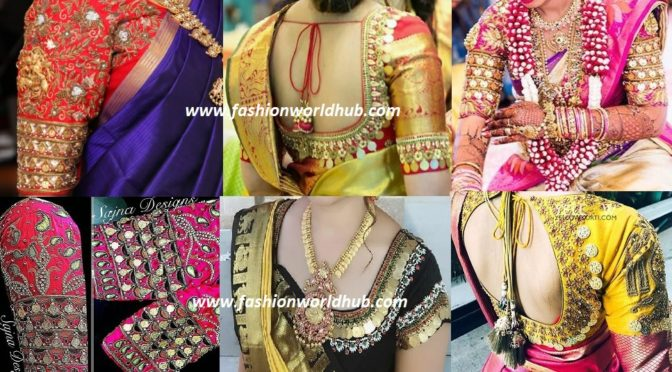 Trending kasu Embellished Blouse for Pattu sarees