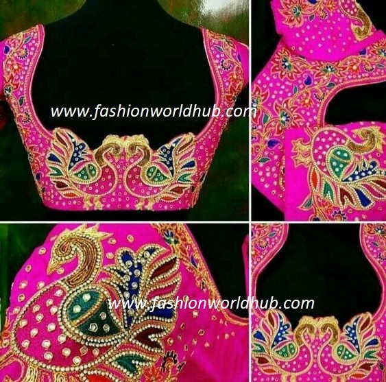 4b5dcf371e4f21 Below blouse is a classic example with a minimalist style . Look at the  lovely floral blouse and a beautiful elephant design with a beautiful  colours thats ...