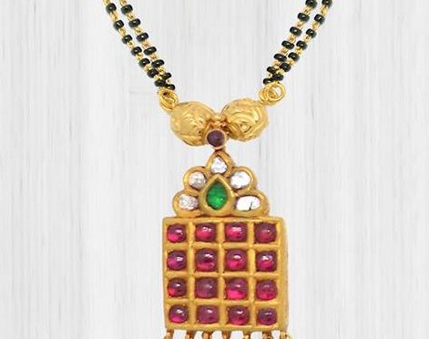 Black Beads with Kundan Pendant