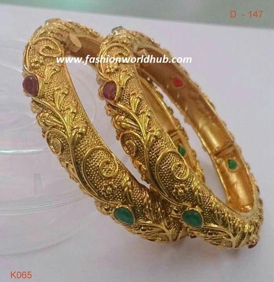 Ruby And Emerald Gold Bangle Fashionworldhub