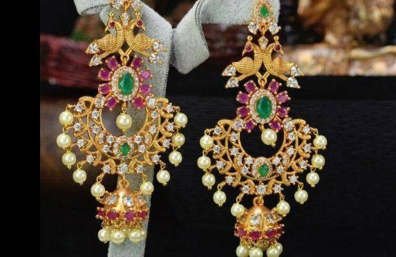 One gram gold Peacock chandbali ear rings