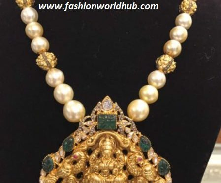 Pearl chain with lakshmi pendant