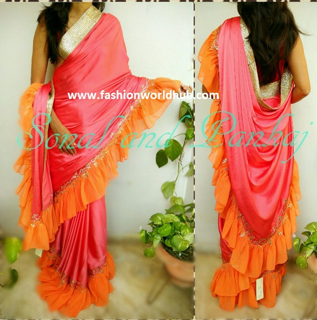Raffle pattern sarees