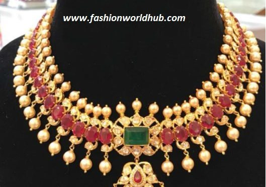 Uncut Diamond Ruby and Pearl necklace