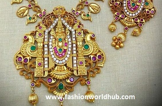 One gram gold necklace with Lord Venkateswara pendant
