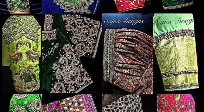 Heavy bridal blouse designs by Sajna designs