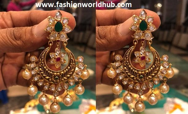 Uncut diamond chandbali ear rings