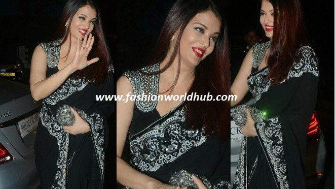 Aishwarya Rai Bachchan in Black designer saree by Shahab Durazi