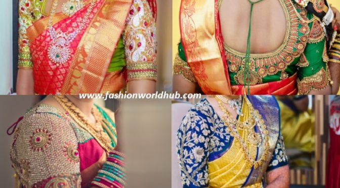 Heavy bridal maggam work blouse