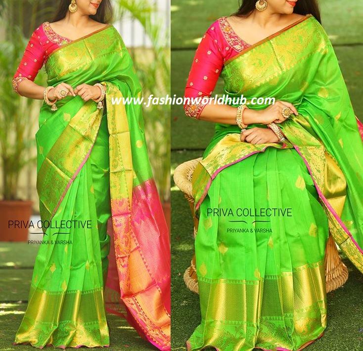 Green And Pink Combination Saree