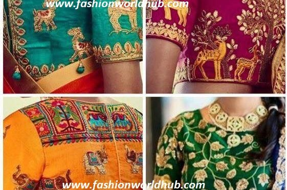 Animal motif embroidery blouse designs
