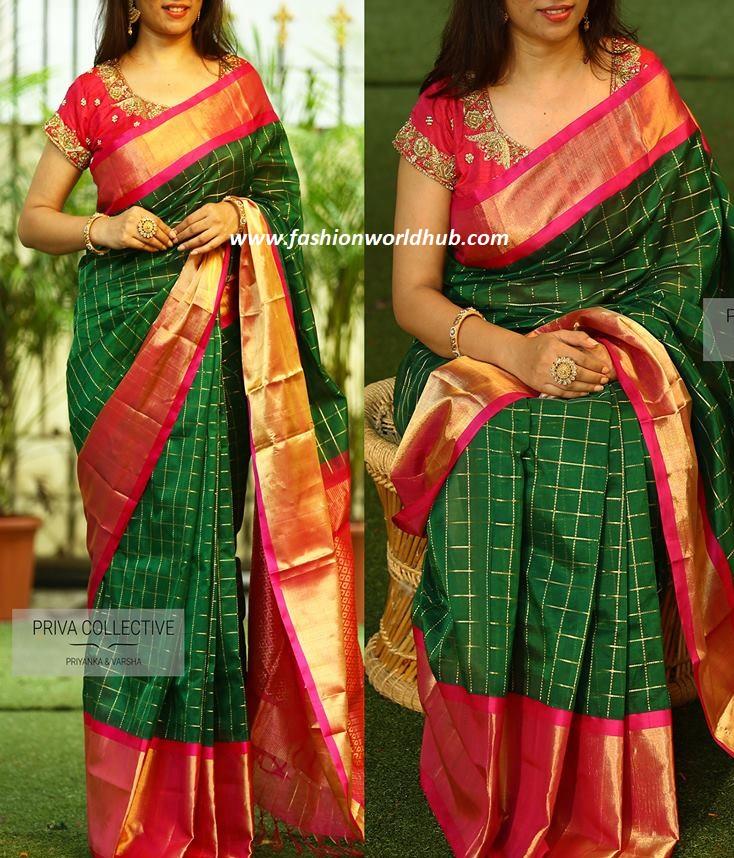 Chekered Green And Red Kuppadam Pattu Saree Fashionworldhub