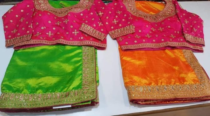 Designer sarees with contrast colour blouse